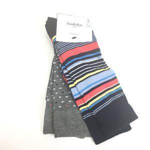 Goodfellow & Co Crew Socks 2 Pairs Striped